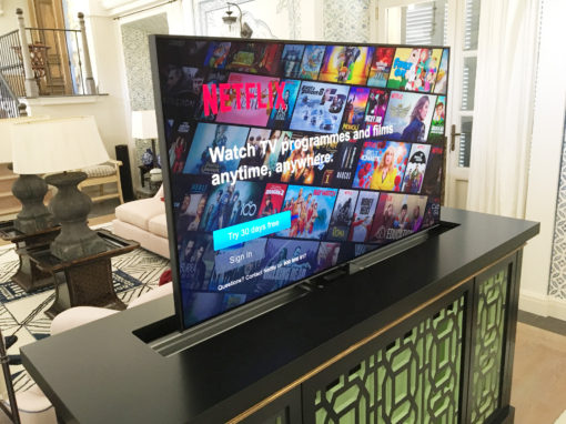 TV with Lift integration in a furniture